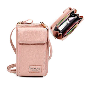 Women Solid Faux leather Phone Bag Leisure Crossbody Bag