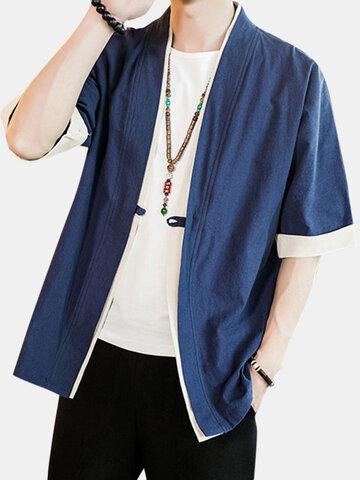 Cappotto Kimono allentato in lino patchwork giapponese