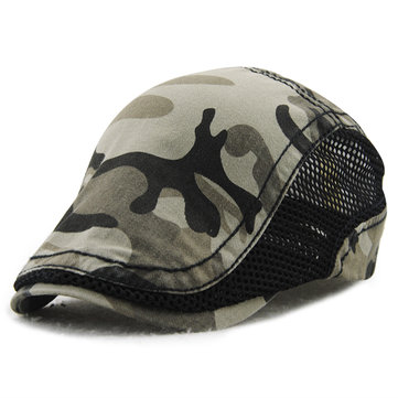 Men Women Cotton Camouflage Beret Cap, Coffee orange dark blue dark grey black