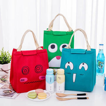 Portable Picnic Cooler Insulated Handbag, Red green blue offwhite