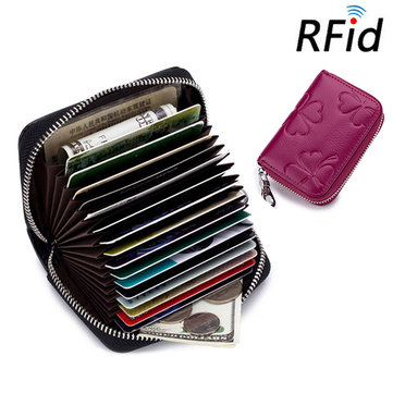 RFID Women Genuine Leather 16 Card Slot Wallet