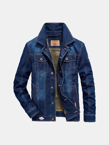Mens Plus Tamanho Denim Embroidery Letter Bagde Jacket