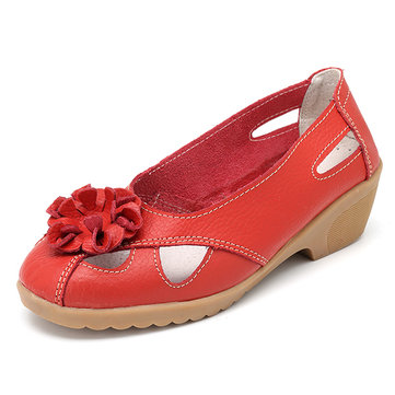 Flower Leather Hollow Out Pumps