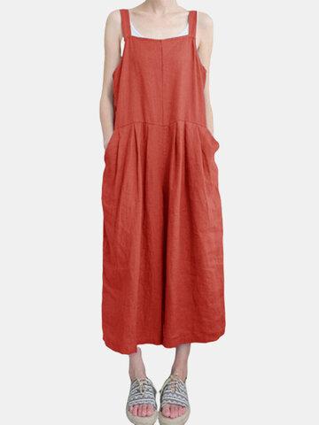 Casual Pure Color Strap Jumpsuit