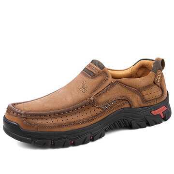 Men Breathable Cow Leather Casual Shoes