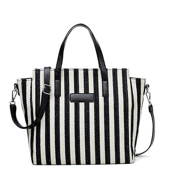 Women Canvas Stripe Handbag Large Capacity Crossbody Bag