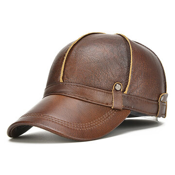 2eb33f5c573 Men Genuine Leather Cowhide Baseball Cap With Ears Flaps