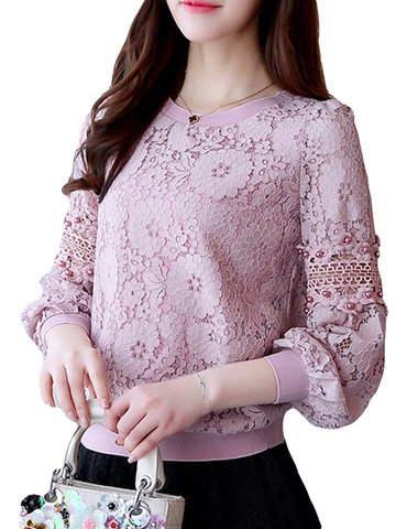 Flowers Lace Long Sleeve O-neck Hollow Shirt, White pink black