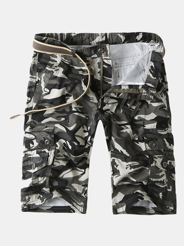 Camo Multi-pocket Knee Length Cargo Shorts