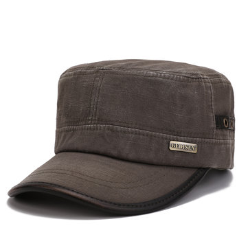 ee019685038 Men Vintage Army Flat Cap Breathable Washed Cotton Comfortable Sun Hat  Outdoor Sports Cap