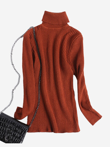 Casual High-neck Women Knitted Sweater