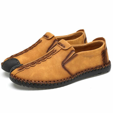 fd2daca593a Men Hand Stitching Cap Toes Breathable Light Slip On Casual Loafers