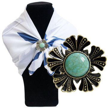 Flower Turquoise Scarf Buckle Brooch, As picture