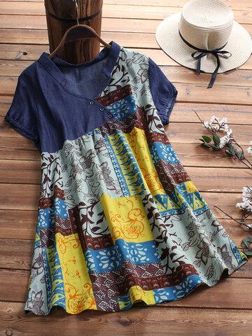 vendimia Patchwork Print Camisa