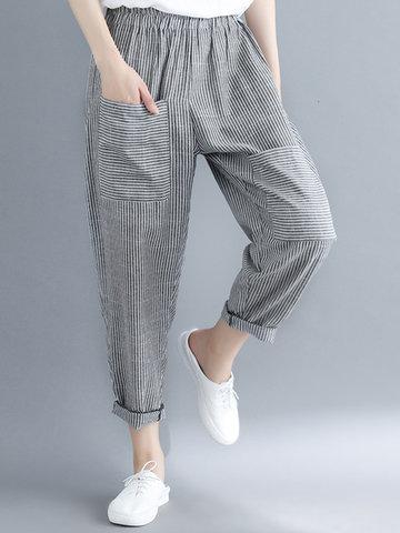 Pantalon élastiqué à taille élastique
