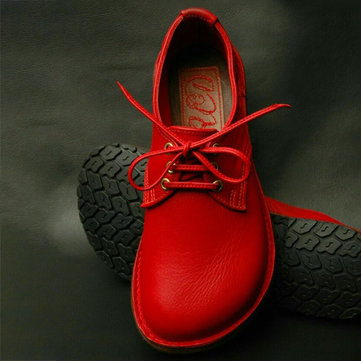 Soft Round Toe Lace Up Flat Shoes