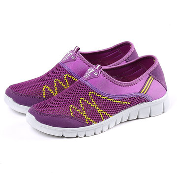 Splicing Mesh Slip On Sneakers