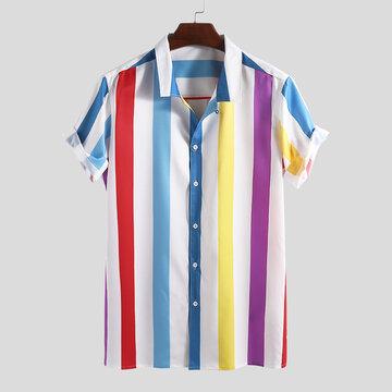 Chemises à rayures contrastées pour hommes