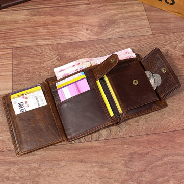 Genuine Leather 13 Card Slots Driver License Tri-fold Wallet