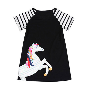 Horse Print Girls Dress For 2Y-11Y
