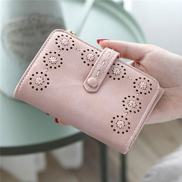 Hollow Out PU Leather Small Wallet
