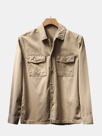 Casual Vintage Turn Down Collar Long Sleeve Business Cargo Shirt for Men