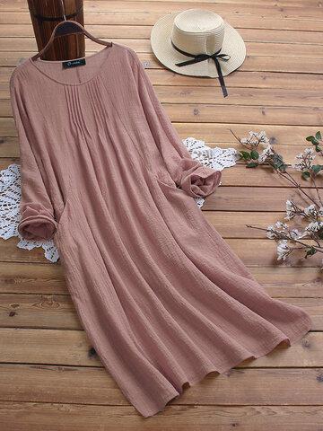 Vintage Solid Color Maxi Dress