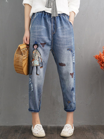 Cartoon Distressed Pockets Jeans