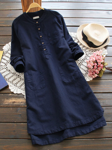 Vintage Pure Color Shirt Dresses