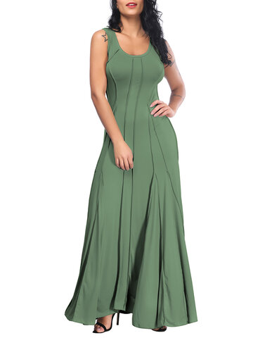 Pure Color Sleeveless Maxi Dresses