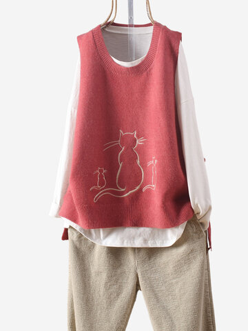 Cat Embroidered Vest Sweater
