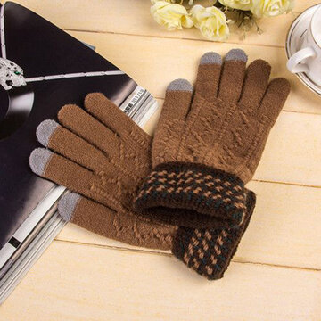 Men Knitted Gloves Touch Screen Mittens