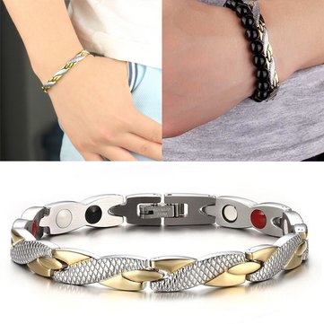 7474b1fa8d02e Fashion Chain Silver Gold Bracelet Magnetic Therapy Stainless Steel Single  Row Bracelet for Men