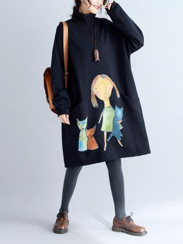 Cartoon Print Pocket Sweatshirt Dress