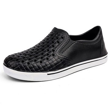 Men Breathable Hole Slip On Casual Shoes