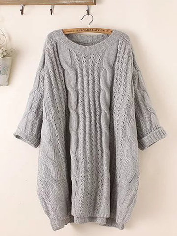 Solid Color 3/4 Sleeve Sweater