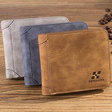 Men Scrub PU Multi-card Bit Wallet