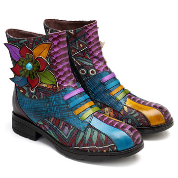 SOCOFY Streamers Floral Leather Zipper Ankle Boots
