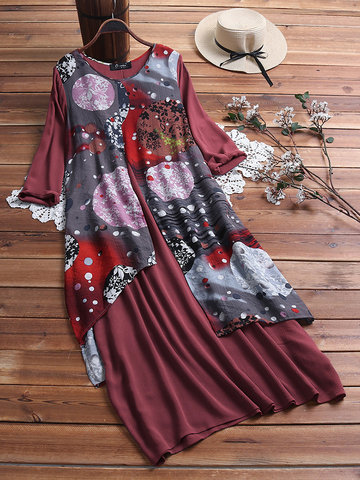 Vintage Print Layers High Low 3/4 Sleeve Dress