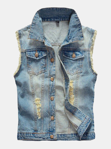 Large Size Mens Denim Vest Vintage Sleeveless Ripped washed jeans waistcoats