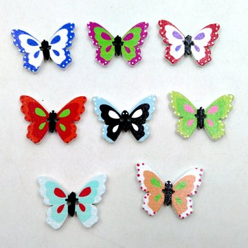 100 Pcs Butterfly Shaped Cartoon Wooden Sewing Buttons