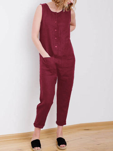 Solid Color Dungaree Overalls Jumpsuit