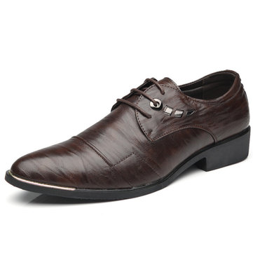 Men Cap Toe  Pointed Toe Business Dress Shoes
