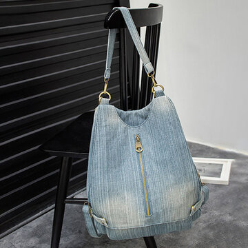 Women Denim Plain Solid Shoulder Bag Backpack
