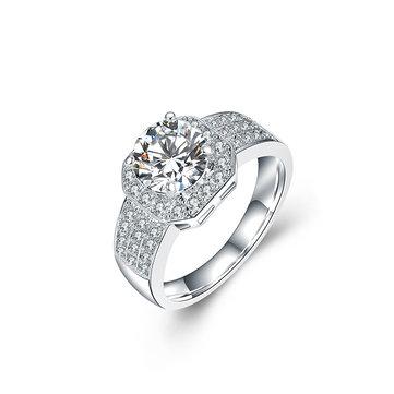 Anillo de lujo de platino del anillo del anillo de las mujeres