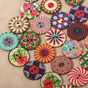 100pcs 25mm Vintage Flower Painted Wooden Buttons