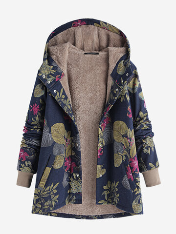 Leaves Print Hooded Vintage Coat