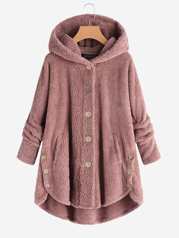 Fleece Button Winter Coat