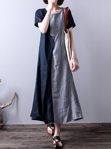 Stripe Patchwork Asymmetrical Dresses