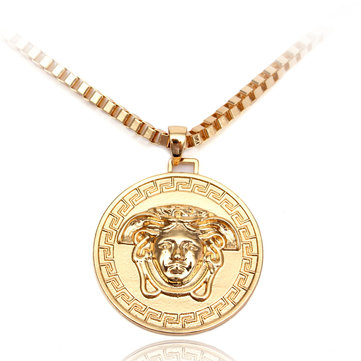 Medusa Head Gold Plated Round Pendant Necklace